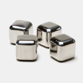 Reusable Stainless Steel Ice Cube 4 PCS / Es Batu Stainless - W00043 - 3