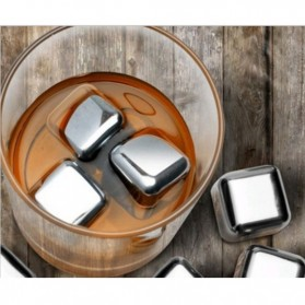 Reusable Stainless Steel Ice Cube 4 PCS / Es Batu Stainless - W00043 - 9