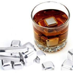 Leeseph Reusable Stainless Steel Ice Cube 6 PCS / Es Batu Stainless - W00043