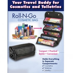 Klsyanyo Universal Multifunction Cosmetic Bag Roll n Go - BG-WABB504 - Black - 2