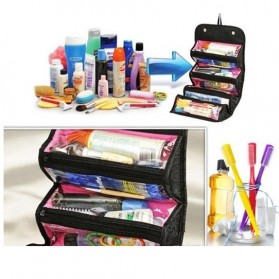 Klsyanyo Universal Multifunction Cosmetic Bag Roll n Go - BG-WABB504 - Black - 8