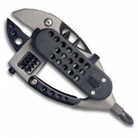 Flounder Multifunctional Tool dengan Mini LED - Black/Silver