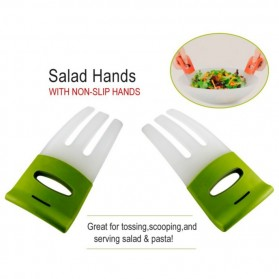 Salad Hands with Non-Slip Handles / Pengaduk Salad - White/Green