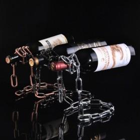 Creative Suspension Chain Wine Rack / Rak Rantai Anggur - HG5625 - Silver - 6