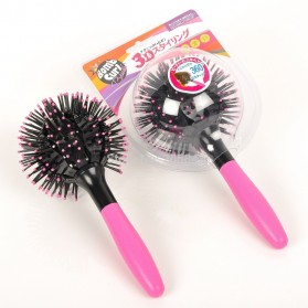 3D Spherical Comb Japan for Curling Hair / Sisir Rambut Blow - Black/Pink - 1