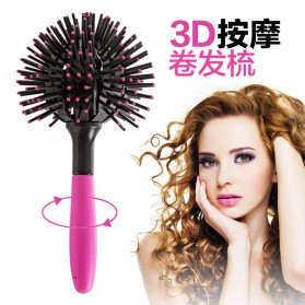 3D Spherical Comb Japan for Curling Hair / Sisir Rambut Blow - Black/Pink - 3