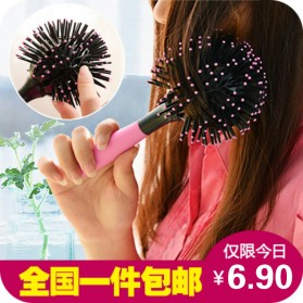 3D Spherical Comb Japan for Curling Hair / Sisir Rambut Blow - Black/Pink - 5