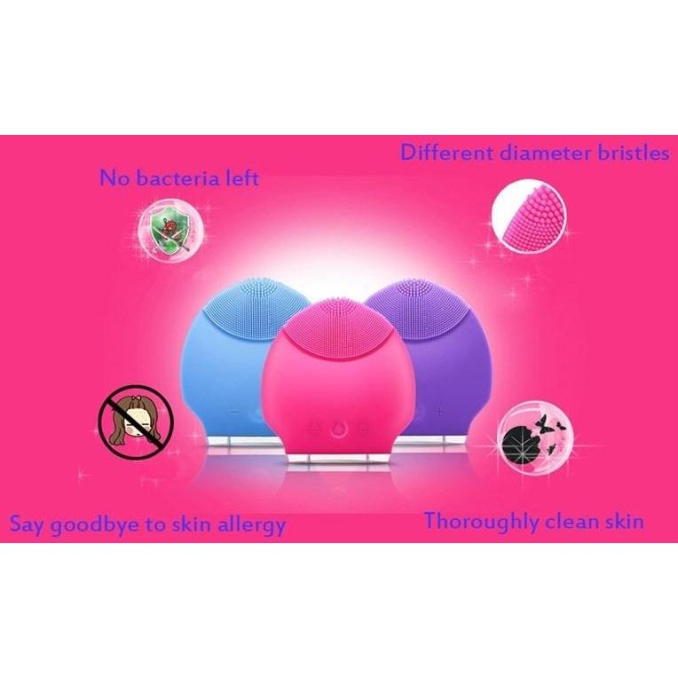 Skin Care Electric Facial Anti Aging Cleaning Brush / Pembersih Muka Elektrik - Blue - 8 ...