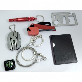 Portable SOS Tool Kit Earthquake Emergency Onboard Outdoor Survival - JT0221 - Red - 2
