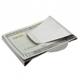 Stainless Steel Wallet Money Clip / Besi Penjepit Uang - Silver