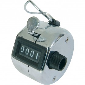 Alat Penghitung Manual Hand Tally Counter 4 Digit - 9999 - Silver
