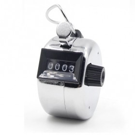 Alat Penghitung Manual Hand Tally Counter 4 Digit - 9999 - Silver - 3