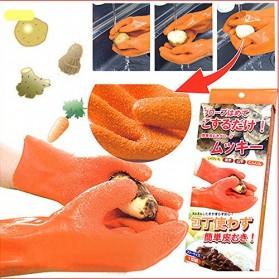 Slip Peeling Gloves Potatoes / Sarung Tangan Pengupas Sayur - Orange