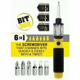 BIT 360 Obeng Set Multifunction 6 in 1 Screwdriver Bits Rotating Chamber - Black - 2