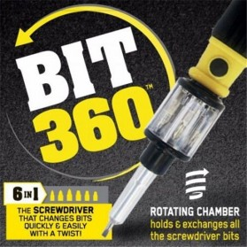 BIT 360 Obeng Set Multifunction 6 in 1 Screwdriver Bits Rotating Chamber - Black - 4