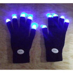 Yiwu Luminous Colorful LED Light Glove / Sarung Tangan LED - Black - 2