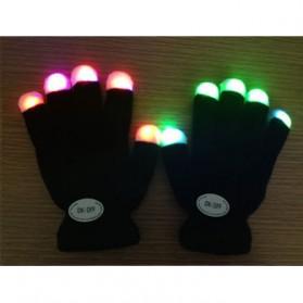 Yiwu Luminous Colorful LED Light Glove / Sarung Tangan LED - Black - 7