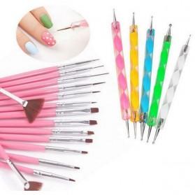 Rhinestone Kuas Kuku Lukis 20 in 1 Nail Art Dotting Tools - X-19 - Multi-Color - 6