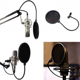Pop Filter Mikrofon Dual Layer Windscreen - Black