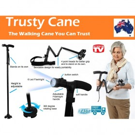 Trust Cane Lighted Crutch Five Sections / Tongkat - Black - 2