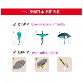 Payung Terbalik Gagang C - Black/Red - 8