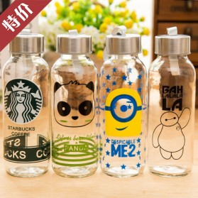 Creative Portable Sports Glass Water Bottles 300ml / Botol Minum - Transparent - 3