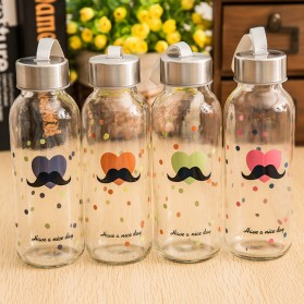 Creative Portable Sports Glass Water Bottles 300ml / Botol Minum - Transparent - 6