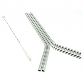 Bending Straw Stainless Steel Capillary 4 Pcs / Sedotan - 304 - Silver