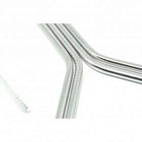 Bending Straw Stainless Steel Capillary 4 Pcs / Sedotan - 304 - Silver - 2