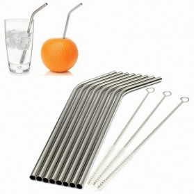 Bending Straw Stainless Steel Capillary 4 Pcs / Sedotan - 304 - Silver - 3
