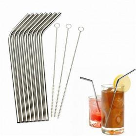 Bending Straw Stainless Steel Capillary 4 Pcs / Sedotan - 304 - Silver - 5