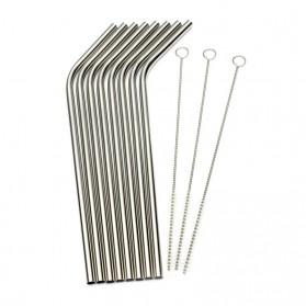 Bending Straw Stainless Steel Capillary 4 Pcs / Sedotan - 304 - Silver - 6