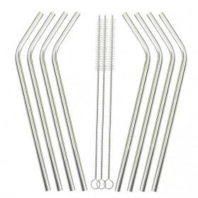 Bending Straw Stainless Steel Capillary 4 Pcs / Sedotan - 304 - Silver - 7