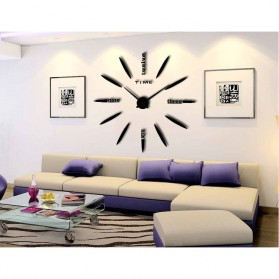 Jam Dinding Besar DIY Giant Wall Clock Quartz Creative Design 80-130cm - DIY-202 - Black