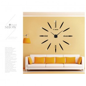 Jam Dinding Besar DIY Giant Wall Clock Quartz Creative Design 80-130cm - DIY-202 - Black - 3