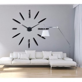 Jam Dinding Besar DIY Giant Wall Clock Quartz Creative Design 80-130cm - DIY-202 - Black - 4