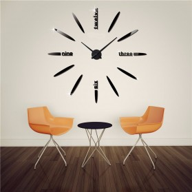 Jam Dinding Besar DIY Giant Wall Clock Quartz Creative Design 80-130cm - DIY-202 - Black - 6