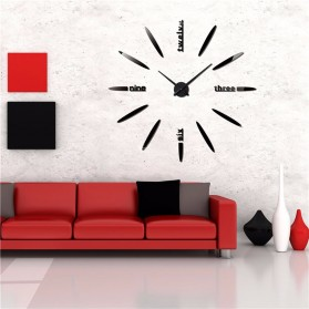 Jam Dinding Besar DIY Giant Wall Clock Quartz Creative Design 80-130cm - DIY-202 - Black - 7