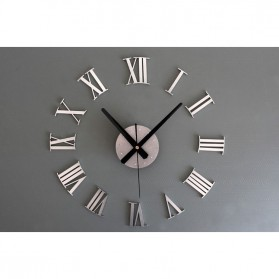 Jam Dinding DIY Giant Wall Clock Quartz Creative Design 30-60cm - DIY-05 - Silver