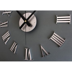 Jam Dinding DIY Giant Wall Clock Quartz Creative Design 30-60cm - DIY-05 - Silver - 5