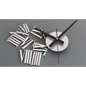 Jam Dinding DIY Giant Wall Clock Quartz Creative Design 30-60cm - DIY-05 - Silver - 11