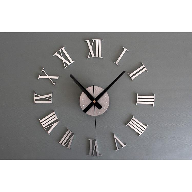 ... DIY Giant Wall Clock 30-60cm Diameter - ELET00662   Jam Dinding - Silver  ... d6526776ba