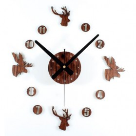 Jam Dinding DIY Giant Wall Clock Quartz Creative Design 30-60cm - DIY-04 - Brown