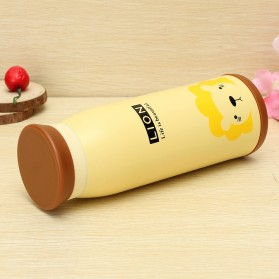 Colourful Cute Cartoon Thermos Insulated Mik Water Bottle 500ml - Yellow - 9