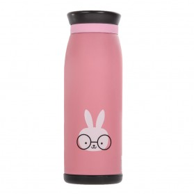 Colourful Cute Cartoon Thermos Insulated Mik Water Bottle 500ml - Pink - 2