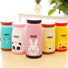 Colourful Cute Cartoon Thermos Insulated Mik Water Bottle 500ml - Pink - 11