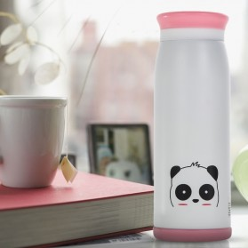 Colourful Cute Cartoon Thermos Insulated Mik Water Bottle 500ml - White - 1