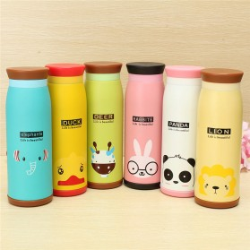 Colourful Cute Cartoon Thermos Insulated Mik Water Bottle 500ml - White - 4
