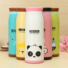 Colourful Cute Cartoon Thermos Insulated Mik Water Bottle 500ml - White - 5