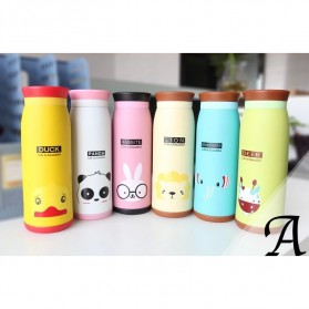 Colourful Cute Cartoon Thermos Insulated Mik Water Bottle 500ml - White - 6